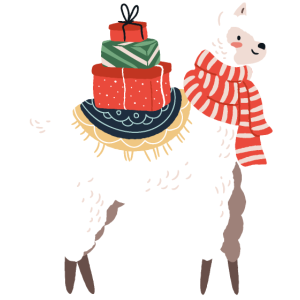Alpaka Llama bringt Alpaka mit Weihnachtsgeschenke