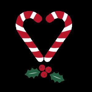 Zuckerstange Herz Weihnachten Mistelzweig
