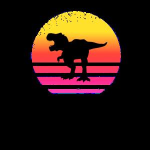 Vintage Retro Dinosaurier Sonnenuntergang