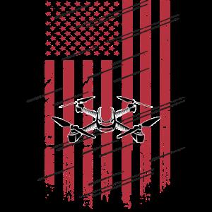 Drone Flag Patriot Quadcopter UAS UAV Drone Pilot