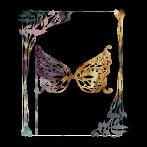Art Deco Motiv floral Blume mit Maske