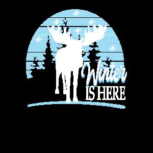 Winter mit Elch im Wald