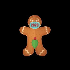 Ingwer-Keks im Masken-Hemd lustige frohe Weihnachten