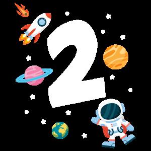 2. Geburtstag Astronaut Jungen 2 Jahre Weltraum