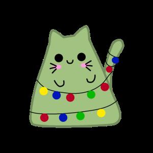 Kawaii Katze mit Lichterkette