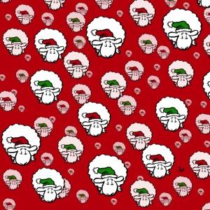 Santa Sheep (rød og grønn på rød) ansiktsmaske