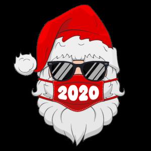 Weihnachtsmann mit Gesichtsmaske Weihnachten 2020 Familienpyjamas