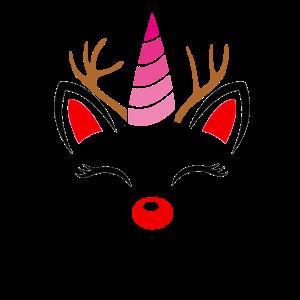 Einhorn Rentier Weihnachts Geschenk Kostüm Damen