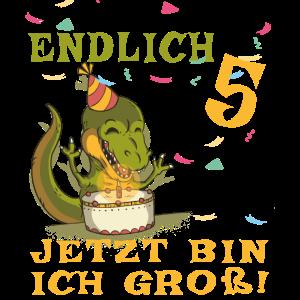Endlich 5 - Junge 5 Geburtstag - Dino - Torte