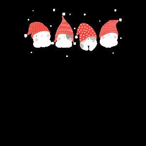 Süße Katzen mit Weihnachtsmütze | Kätzchen Muster