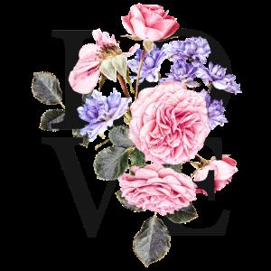 LOVE Buchstaben mit rosa- und lilafarbenen Blüten