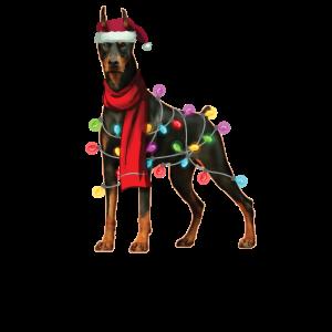 Weihnachts-Weihnachts-Weihnachtsgeschenk des Weihnachtsmann-Dobermann-Hundes