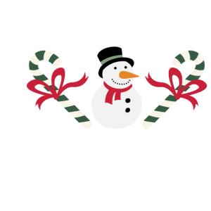 Schneemann mit Zuckerstange