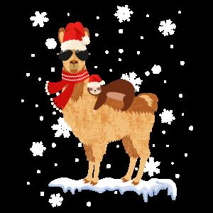 Cooles Alpaka Lama Weihnachten Deko Faultier Schne