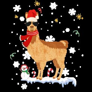 Cooles Alpaka Lama Weihnachten Deko Schneeflocken