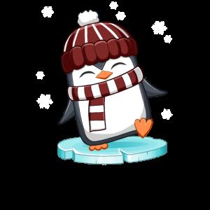 weihnachtlicher Pinguin im Schnee auf Eisscholle