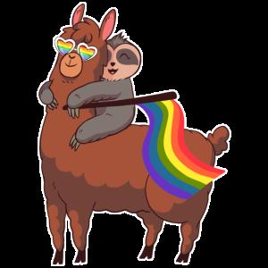 LGBT-Foot Riding A Lama Gay Pride Lesbian Rainbow