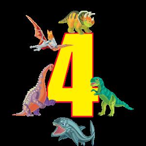 4. Geburtstag 4 Jahre Dino Saurier Dinosaurier