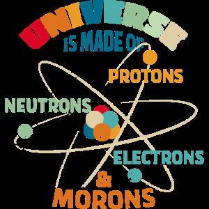 Universum aus Protonen Neutronen Elektronen Idioten