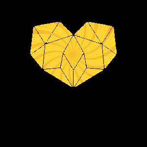 Yellow Geometric Heart