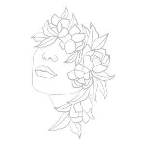 Frau floral Kopf Blüten Blätter Kunst Art Portrait