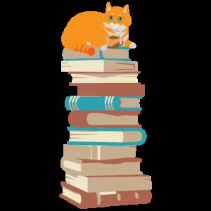Katze mit Kaffee auf Bücher