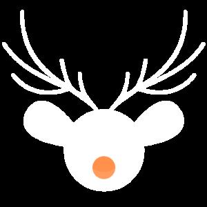 Christmas Reindeer Minimalist (weiße orange Nase)