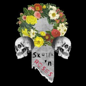 Kranz mit Rosen und Vintage Retro Totenkopf Skull