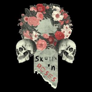 Vintage Retro Totenkopf Skull Kranz mit Rosen