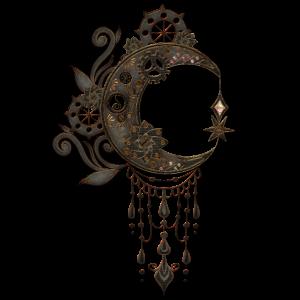 Eleganter Steampunk-Mond mit Zahnrädern