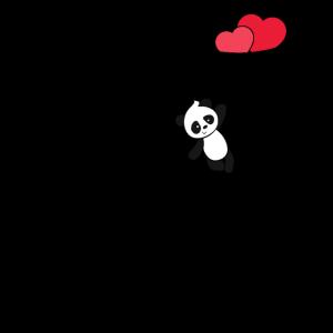Valentinstag Shirt Nette Panda Red Hearts