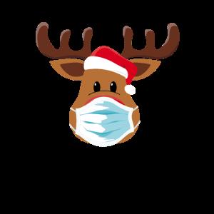 Rentier mit Maske Weihnachten Mütze Elch Corona