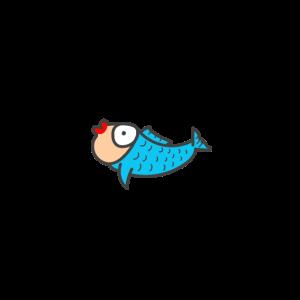 Fisch, blauer lustiger Fisch