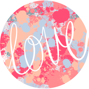 """kreisförmiger Fleckendruck mit Wort """"Liebe"""""""