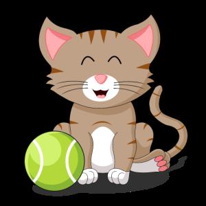 Katze Tennis Katzenbaby Schmusekatze Tennisball