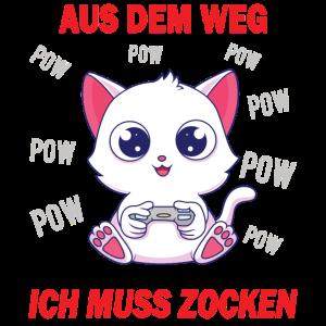 Gaming Katze Gamer Spruch Gaming Cat Geschenk