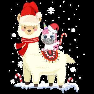 Süßes Alpaka Lama Einhorn Weihnachten Mund-Schutz