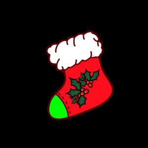 Bunte Weihnachtssocke verziert mit Stechpalme