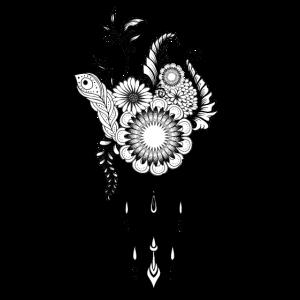 Schwarzweiss-Blumenmuster, Gekritzel