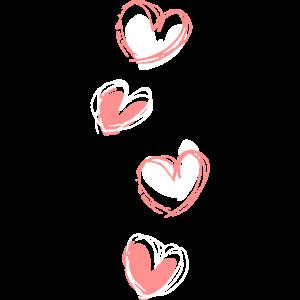 vier Herzen übereinander
