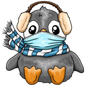 Süßer Pinguin mit Mundschutz Schal Winter Design