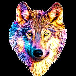 Wolf in Regenbogenflammen