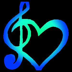 Symbol Herz und Notenschlüssel Ich liebe Musik
