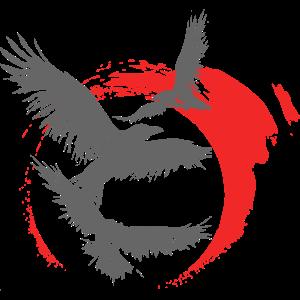 Rabe Krähe Vogel Mond Japan Style Geschenk Idee