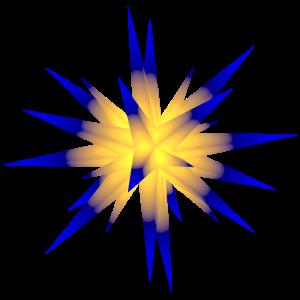 weihnachtsstern gelb-blau