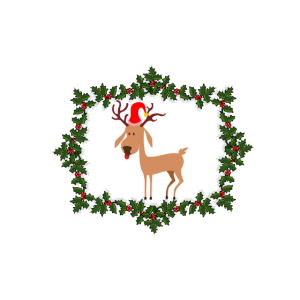 Silly reindeer in a mistletoe-frame