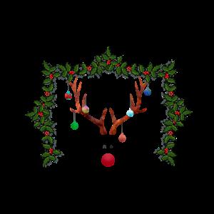 Reindeer in a mistletoe-frame