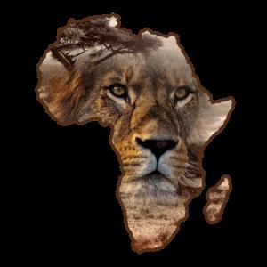 Löwe auf Silhouette von Afrika