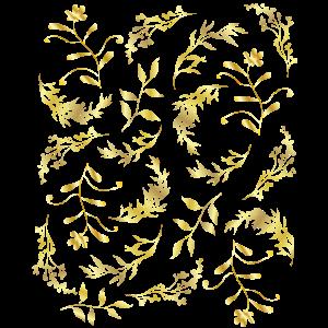 Gold Muster Blumen Blätter elegant golden edel