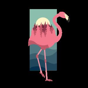 Flamingo mit Wald